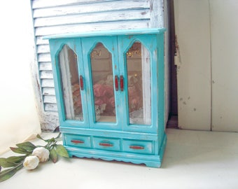 Turquoise Vintage Jewelry Box, Aqua Wooden Jewelry Holder, Aqua Blue Beach Chic Jewelry Box, Shabby Chic Teal Jewelry Box, Gift Ideas
