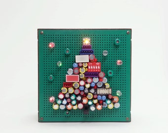 Unique Christmas Tree, Christmas Decoration, Holiday Gift, Unique Art, Electronic Components Art