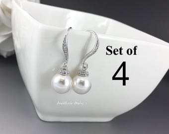 Set of 4 Bridesmaid Earrings Dangle Earrings Swarovski Pearl Earrings Bridal Earrings Bridesmaid Earrings Bridal Jewelry Maid of Honor Gift