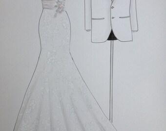 Custom wedding dress sketch and tuxedo, bride and groom attire portrait, paper anniversary, wedding anniversary