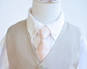Necktie, Neckties, Boys Tie, Baby Tie, Tie Necktie, Baby Necktie, Wedding Ties, Ring Bearer, Rifle Paper Co - Queen Anne In Peach