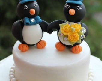 Wedding penguin cake topper, holding hands penguins with baseball hats, sport themed wedding