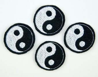 YIN YANG - Embroidered Felt Embellishments / Appliques - White & Black  (Qnty of 4) SCF5530