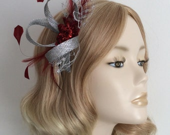 METALLIC SILVER and BURGUNDY Fascinator, Organza sequin and bead detail, feathers, net, on a comb, Colour Metallic Silver and Burgundy Red