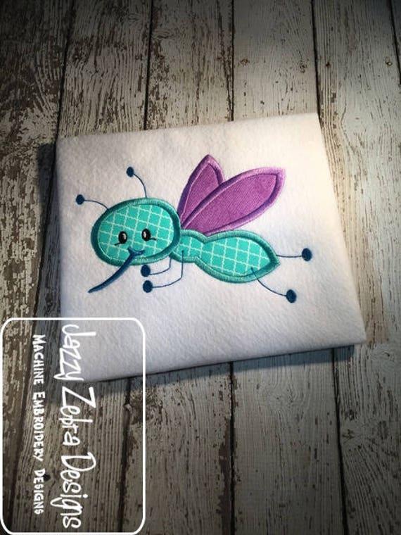 Mosquito appliqué embroidery design - summer appliqué design - bug appliqué design