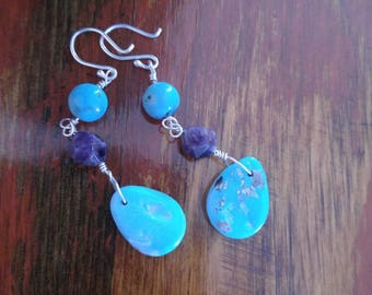 Turquoise Earrings, Morenci Turquoise, Amethyst, Dangle Earrings, Cowgirl, Southwest Style