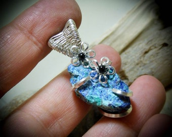 RARE Bluebird Mine Chrysocolla Prong Wire Wrapped Natural Rough Stone Gemstone Necklace Pendant