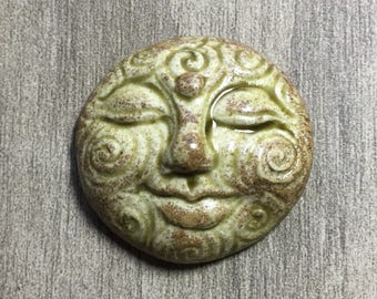 Large Spiral Face Ceramic Cabochon Stone in Pale Rusty Earthy Green