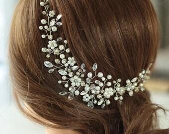 Flower Bridal hair vine Wedding hair vine Bridal hair jewelry Flower headpiece Ivory headpiece Bridal hair piece Wedding hair accessory