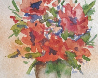 Original ACEO watercolor painting - Bouquet - Miniature Painting, Small Painting, Art and Collectables - ACEO Watercolor 2.5 x 3.5 inches