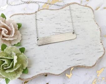 Silver Flat Bar Dainty Necklace