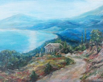 Oil painting landscape-Original painting-scenery painting-Landscape-Greece art-paintings of the sea-Mountains-oil painting landscape