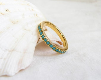 Swarovski Half Eternity Ring. Turquoise Blue. Dainty Turquoise Ring. Simple Modern Jewelry by PetitBlue