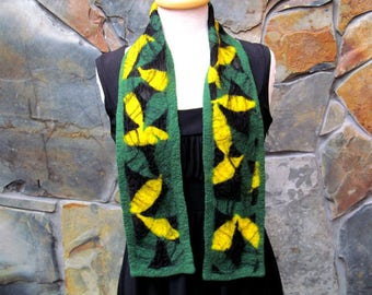 Green and gold shapes with black overlay on black silk, extra short tie scarf