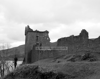 Urquhart Castle Loch Ness Scotland black and white photo