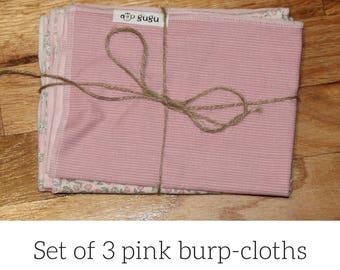 Set of 3 pink burp cloths