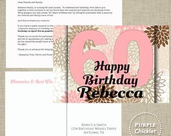 Pink Milestone Birthday Postcard Memories and Birthday Wishes Printable Post Card Standard 4x6 jpeg files 4