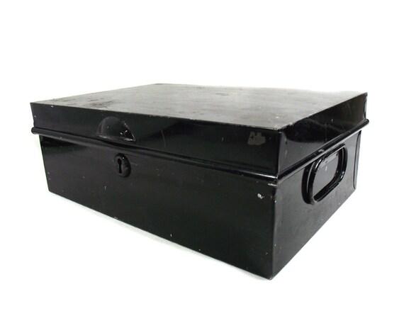 Vintage Black Metal Box by J H Veteran