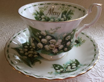 """1970's Royal Albert """"May"""" or Lily of the Valley"""" flower of the month series teacup and saucer set"""