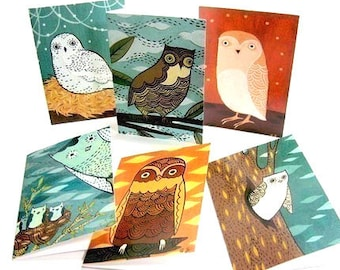 OWL NOTE CARDS set notecards owl illustrations art greeting card blank card set - boygirlparty bestseller Best selling items, owl cards