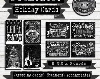 CHRISTMAS CARD PRINTABLE,  Holiday Cards, Christmas Cards, Printable Christmas, Christmas Chalkboard, Chritsmas, Cards, Printable