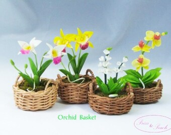 Miniature Polymer Clay Flowers Supplies Tropical Orchids Handmade Wedding Gifts, set of 4 baskets
