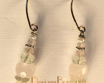 Rose quartz and Prasiolite earrings