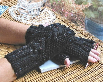 Black Fingerless Texting Gloves Cabled Tweed Confetti - Pure Wool  - Soft & Warm