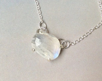 Rose Cut Rainbow Moonstone Pendant, June Birthstone Necklace, Moonstone Necklace, Custom Prong Setting, Sterling Silver, Gift for her, MO2