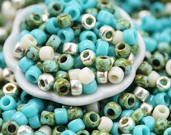 10g Toho Seed Beads Mix - Turquoise Wave - MayaHoney Special Mix, 8/0 size, turquoise blue, silver rocailles - S1018