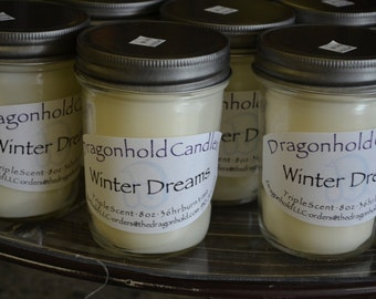 Winter Dreams Candle: Hand Poured, Triple Scented Soy-Paraffin Candle