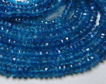 1 Strands of Natural Neon Apatite Rondelle Faceted 3-3.5 mm