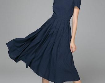 Linen midi dress, blue linen dress, linen dress, summer dress, custom dress, womens dresses, handmade dress, square neck dress 1398