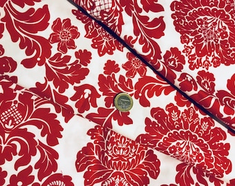 fabric patchwork red MICHAEL MILLER Delovly Damask 4403