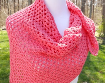 crochet shoulder wrap, triangle scarf, gift for her, coral triangle kerchief