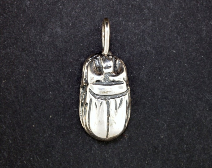 Egyptian Scarab Pendant in Sterling Silver