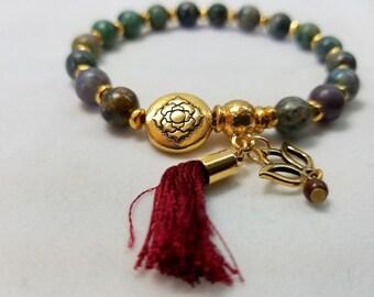 Maya Style Stretch Bracelet, Beaded Bracelet