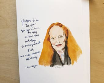 Grace Coddington Portrait and Inspiring quote, 5x7 greeting card, Ready to Ship