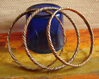 Set of 3 Vintage Copper, Brass and Silver Indian Bangles -- Hand-made Bangles, 1970s,  Made in India, Boho wristbands