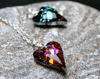 Small Crystal Heart Necklace Teal or Fuchsia Your Choice Swarovski on Sterling Silver Red Volcano Blue Sphinx Bogey Bacall Valentines Love
