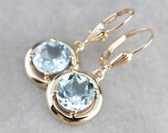 Vintage Blue Topaz Gold Halo Drop Earrings 4J674X