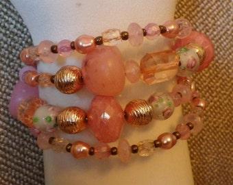 Pretty pink beaded wrap bracelet