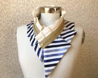 Collier femme, collier fermeture à glissière, collier plastron soie, accessoire féminin, accessoire de mode style, véritable fait à la main #253