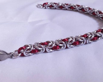 Chainmail Bracelet - Silver and Red Byzantine Weave