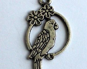 Set of 4 silver Parrot pendants