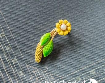 Vintage enamel brooch, yellow flower, green leaves and wheat sheaf