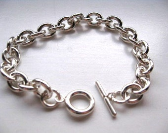 Sterling Silver Heavy Oval Link Charm Bracelet with Toggle Clasp