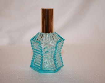 A5 Beautiful Electric Blue Glass lily of The Valley Perfume Bottle Spray with Lid