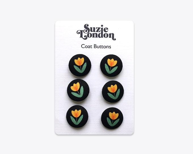 Folky Dokey Tulip Coat Buttons in Yellow