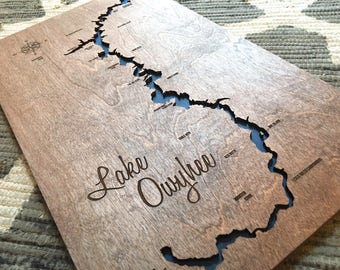 Lake Owyhee, Oregon Lake Custom 3-D Lake Sign - Owyhee River Handmade Compass and Name Engraved - North Idaho Made